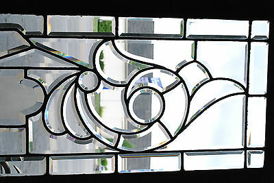 "Antique Fully Beveled Glass Transom Window with 827 Number in Center 63"" 6"
