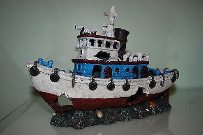 Stunning Aquarium White & Blue Detailed Tug Boat Decoration 30.5 x 12 x 20 cms 3