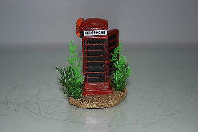 Aquarium Small Old London Telephone Box & Plants 7 x 5 x 8 cms For All Aquariums 3