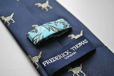 Navy Mens Tie with embroidered Dinosaur T-Rex Print by Frederick Thomas FT1527