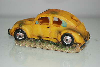 VW Yellow Beetle Small Old Rustic Car Decoration 14.5 x 6x6.5 For All Aquariums 4
