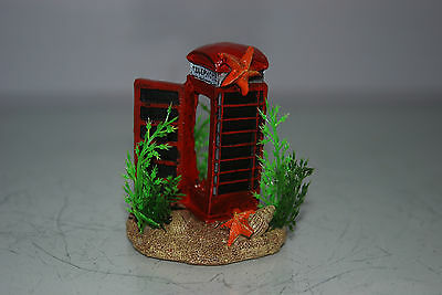 Aquarium Small Old London Telephone Box & Plants 7 x 5 x 8 cms For All Aquariums 4