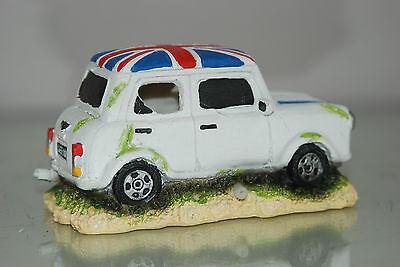 Aquarium White Mini Cooper Decoration & Bubble Exhaust Size 13 x 7 x 7 cms 5