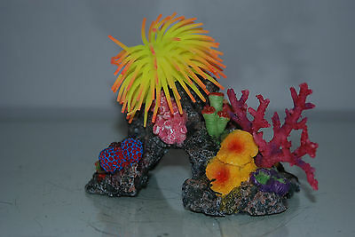 Aquarium Coral with Yellow & Orange  Anemone On Coral Rock 16 x 10 x 12 cms 2