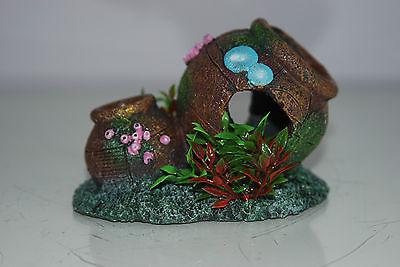 Aquarium Old Rustic Pot & Plants Decoration 12.5 x 8.5 x 9 cms 4