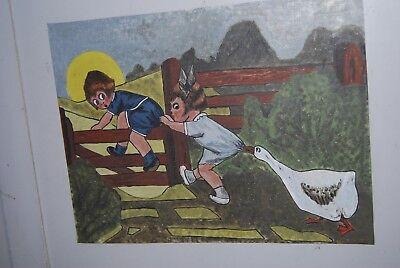 Lit bébé vintage années 50. ( Peinture d'enfants et animaux burlesques ) 10