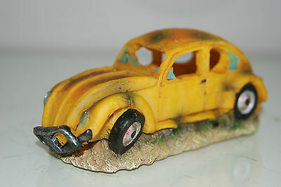 VW Yellow Beetle Small Old Rustic Car Decoration 14.5 x 6x6.5 For All Aquariums 8
