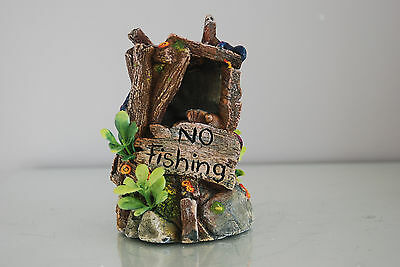 Aquarium No Fishing or Crabbing Sign Decoration 9 x 9 x 15 cms For All Aquariums