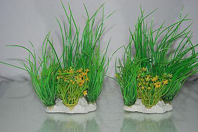 Aquarium 2 x Yellow & Green Plants 9 x 4 x 15 cms Suitable For All Aquariums 5