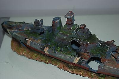 Aquarium Large Battle Ship Destroyer & Rock Base For Aquariums 50 x 9 x 15 cms 4