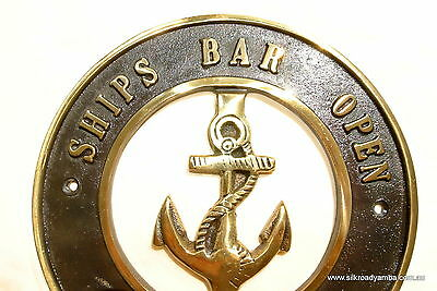 "solid BRASS SIGN Ships Bar Open 6.1/2 "" ship Anchor funny decor screwsl heavy B 2"