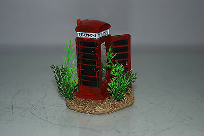 Aquarium Small Old London Telephone Box & Plants 7 x 5 x 8 cms For All Aquariums 2