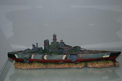 Aquarium Large Battle Ship Destroyer & Rock Base For Aquariums 50 x 9 x 15 cms 5