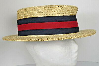 Ponte Realto Venice Boater Hat Gondola 57 7-1/8 Made in Italy Straw Braid Sailor 4