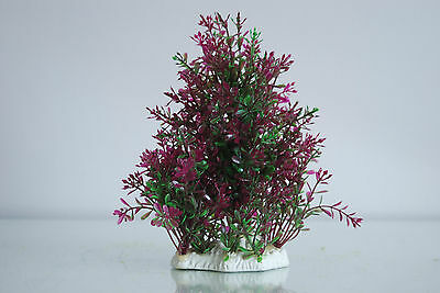 Aquarium Realistic Medium Plastic Plant Purple & Green Bush Plant  9x4x19 cms 5