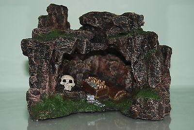 Aquarium Rock Cave with Skull & Treasure 22.5 x 17.5 x 17cms Aquarium Ornament 5