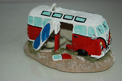 Aquarium Old VW Camper Van Red Decoration 15.5 x 9.5 x 8 cms 8