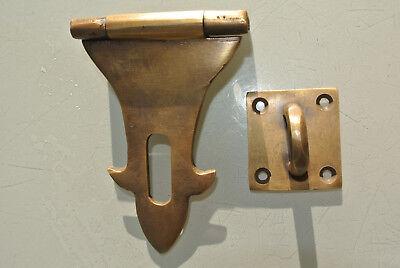 small box catch hasp latch old style BOX antiques DOOR heavy  staple 12cm B 3