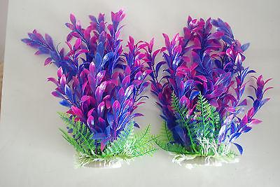 Aquarium Plants x 2 Approx 25cms High Pink & Purple Suitable for all Aquariums 3