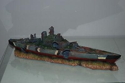 Aquarium Large Battle Ship Destroyer & Rock Base For Aquariums 50 x 9 x 15 cms 7
