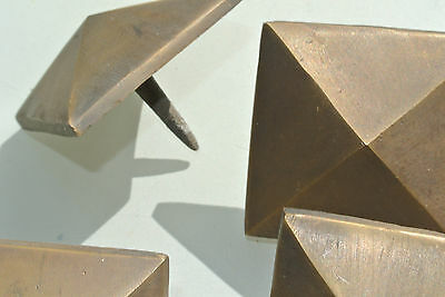"10 Door studs decoration square  corner vintage solid brass heavy  2"" B 6"