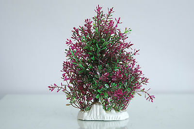 Aquarium Realistic Medium Plastic Plant Purple & Green Bush Plant  9x4x19 cms 2