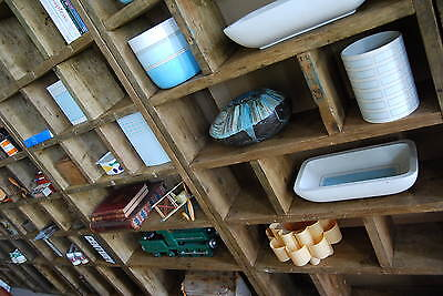 Pigeon holes ZIG ZAG industrial rustic bookcase wood factory salvage gplanera 9
