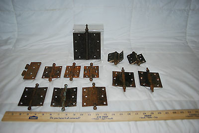 "Antique Cast Iron Assorted Size Hinges & 3.5"" Brass Hinges 2"