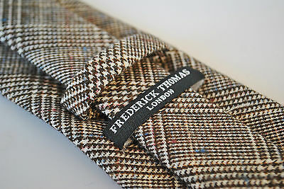 f94f3c0308b2 ... Frederick Thomas mens wool tweed tie in brown with blue pink & red  fibre FT2094 3