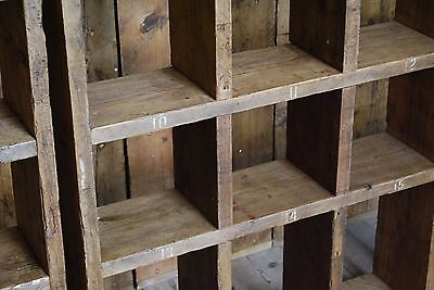 Pigeon holes BOOKCASE 1 col + 3 col industrial rustic salvage wood gplanera 4
