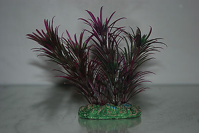 Aquarium Plant Green & Purple Plant with Weighted Base 13 cms 2