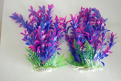 Aquarium Plants x 2 Approx 25cms High Pink & Purple Suitable for all Aquariums 2