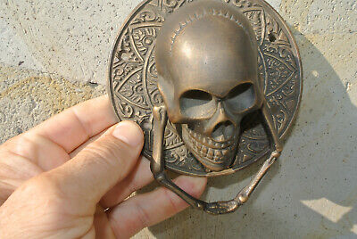 "SKULL handle KNOCKER PULL solid BRASS aged old style DOOR amazing 5"" B 6"