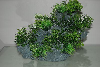 Aquarium Large Detailed Rock with Various Plants Decoration 29 x 10 x 25 cms 3