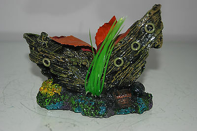 Aquarium Sunken Detailed Small Fishing Boat & Plants 14 x 7 x 10 cms