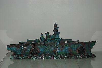 Aquarium Large Stunning Sunken Destroyer Two Part Battleship 68 x 14 x 26 cms 12