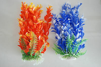 Aquarium Plants x 2 Approx 25cms High Orange & Blue Suitable for all Aquariums 2