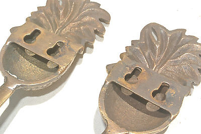 8 PINEAPPLE COAT HOOKS small solid brass vintage old style 120mm hook B 7