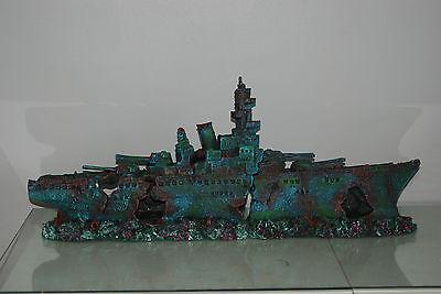 Aquarium Large Stunning Sunken Destroyer Two Part Battleship 68 x 14 x 26 cms 11