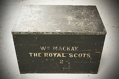 SET OF 2 Antique Early 20th Century Military Royal Scots Wooden Chest Trunk 3