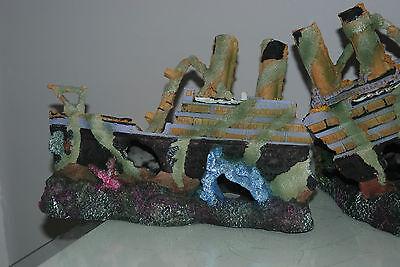 Aquarium Large Rustic Sucken Titanic Liner in Two Parts  55 x 14 x 22 cms 5