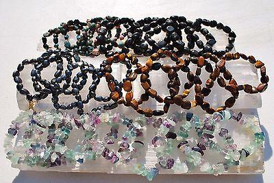 "CHARGED 6"" Natural Black Tourmaline Crystal Stretchy Bracelet + Selenite Heart 11"