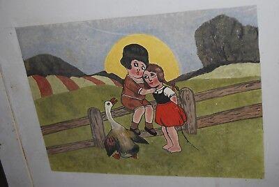 Lit bébé vintage années 50. ( Peinture d'enfants et animaux burlesques ) 8