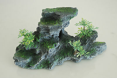 Aquarium Large Detailed Rock & Plant Decoration 15x8x13 cms For All Aquariums