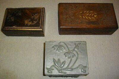tres joyeros de madera y metal (( vintags))  21- 16 - y 13 ctms 4