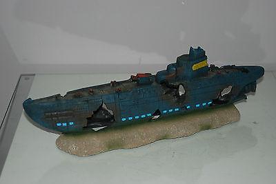 Aquarium Large Stunning Sunken Submarine On Rocks Ornament Size 43 x 9 x 14 cms 3