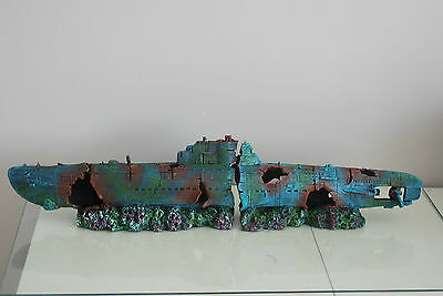 Aquarium Large Stunning Sunken Submarine Two Part Ornament  size 75 x 9 x 15 cms 12