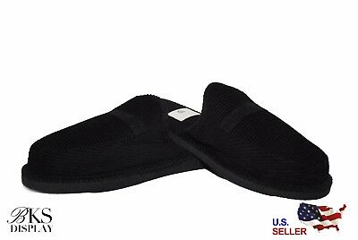 Mens Black Open Back House Shoes Slippers Moccasin Slip-on Corduroy Comfort 2