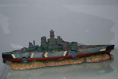 Aquarium Large Battle Ship Destroyer & Rock Base For Aquariums 50 x 9 x 15 cms 2