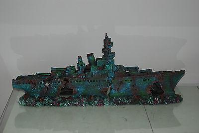Aquarium Large Stunning Sunken Destroyer Two Part Battleship 68 x 14 x 26 cms 10